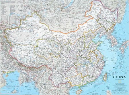 China Wall Map National Geographic Political MapStudio - National geographic political map