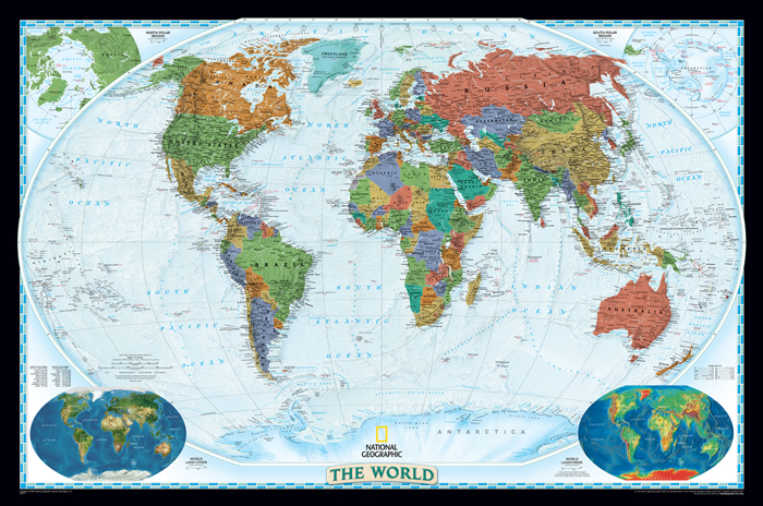 World political wall map national geographic executive for Executive world map wall mural