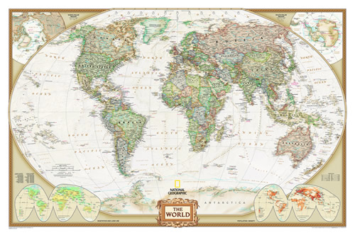 World Political Wall Map National Geographic Decorative