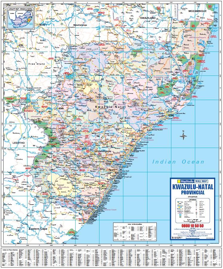 Kwazulu NatalPietermaritzburg Midlands Drakensberg Road Map