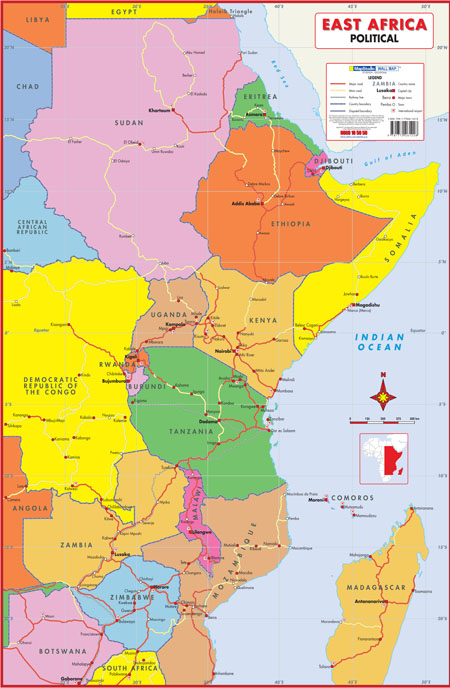 East Africa Political Wall Map MapStudio - Map of eastern africa