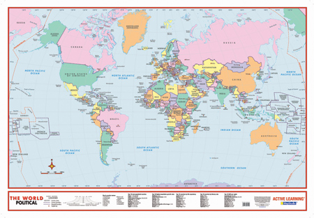 World Political Educational Wall Map  MapStudio