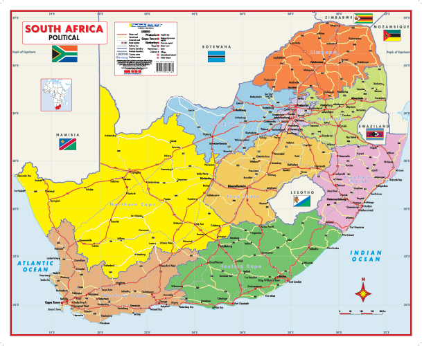 South Africa Political Wall Map MapStudio - South africa map