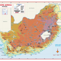 South Africa Physical Educational Wall Map