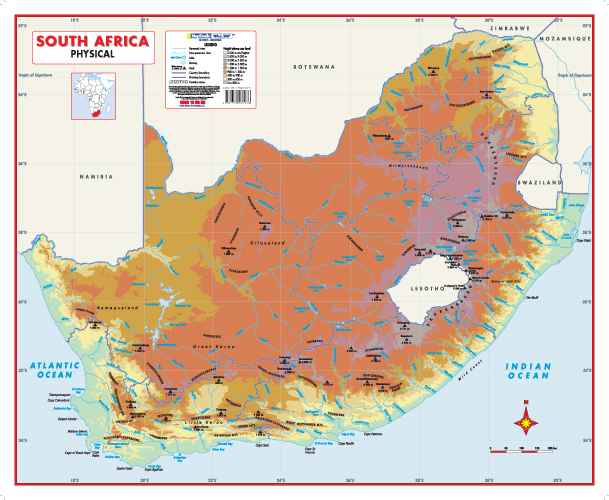 South Africa Physical Educational Wall Map -- MapStudio