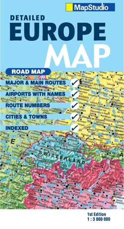 Europe Road Map -ePDF, features major & main routes -- MapStudio