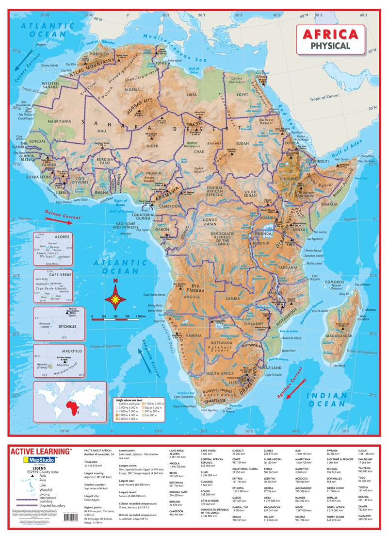 Picture of: Africa Physical Wall Map A Comprehensive Physical Map Of Africa
