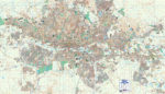 Gauteng Central Large Wall Map