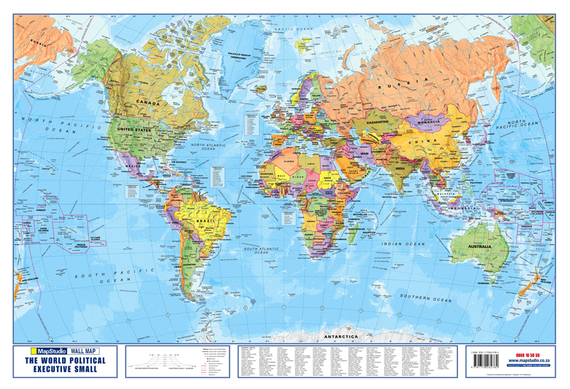 World Political Executive Small Wall Map  MapStudio