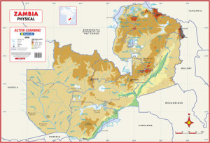 Zambia Physical Wall Map