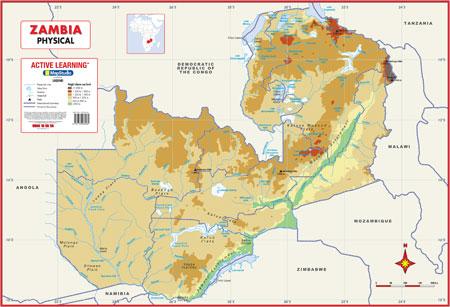 Zambia Physical Wall Map MapStudio - Zambia map