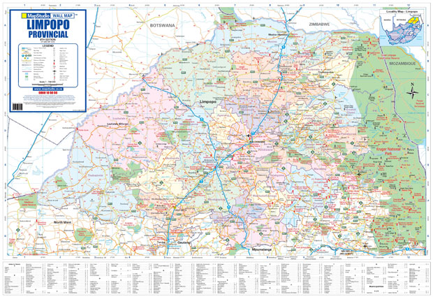 Limpopo Provincial Wall Map Mapstudio