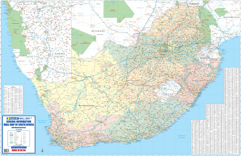 Maps South Africa.General Information Wall Map Of South Africa