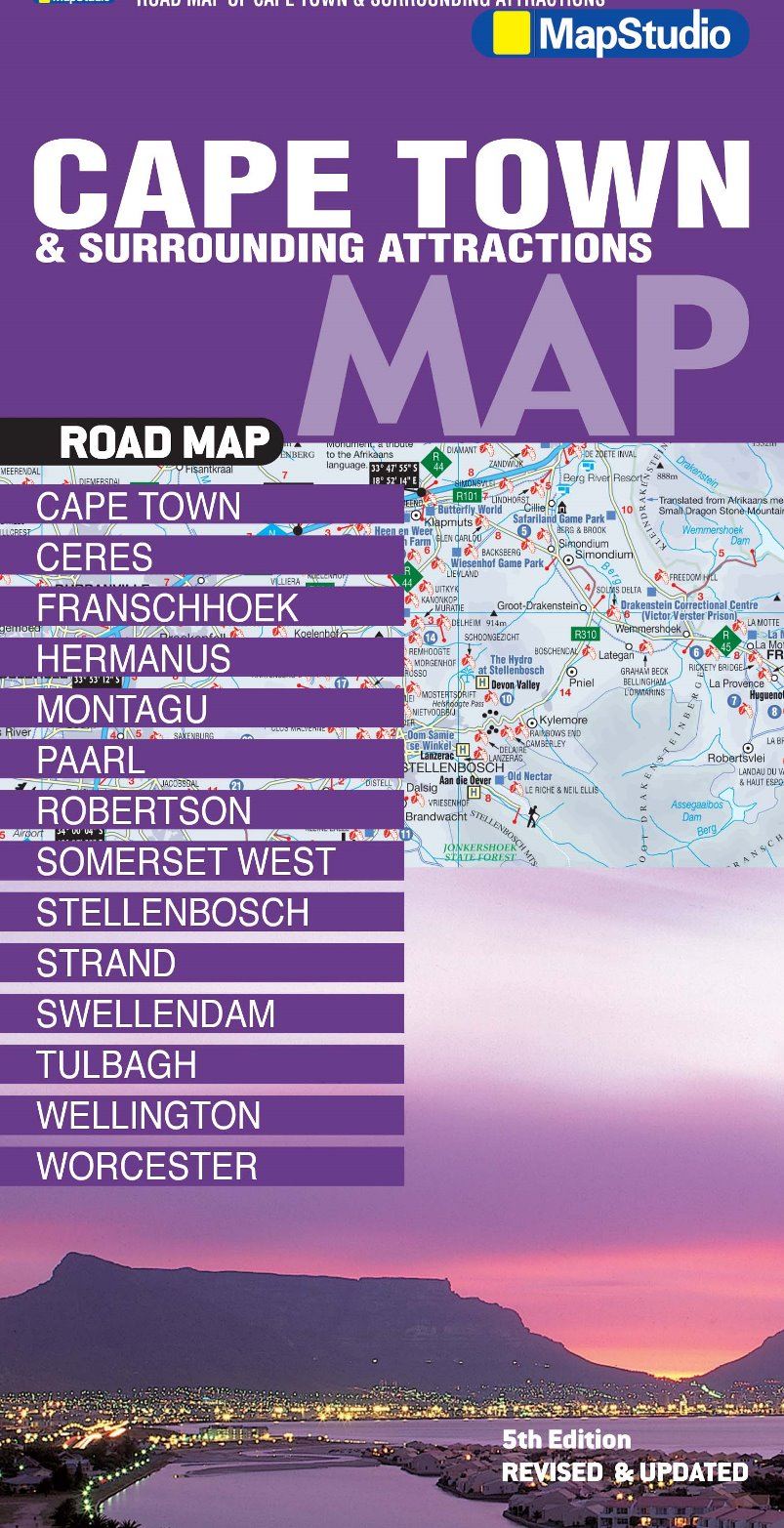 Cape Town Surrounding Attractions Road Map MapStudio