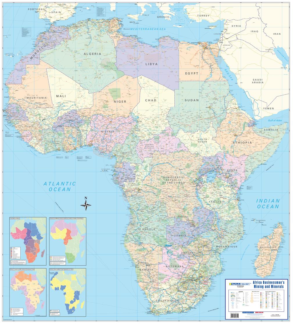 Africa Businessman\'s Mining, Minerals Wall Map