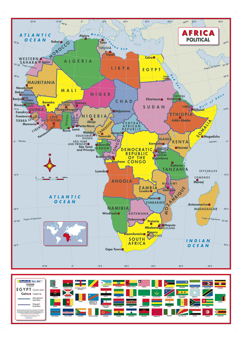 Africa Political Active Learning Wall Map MapStudio