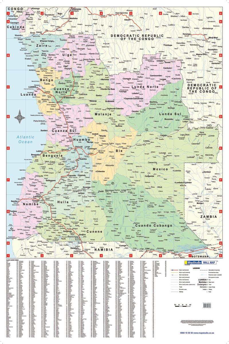 Angola Wall Map Shows International And Provincial Boundaries - Angola provinces map