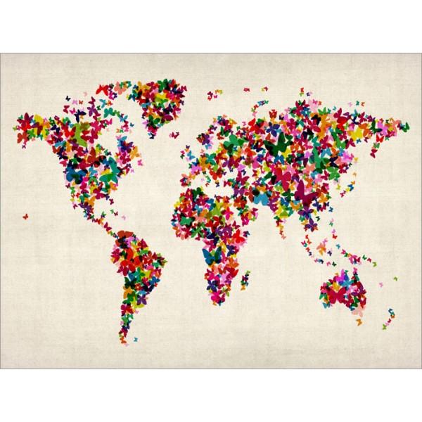 World Butterflies Decorative Art Maps Butterflies