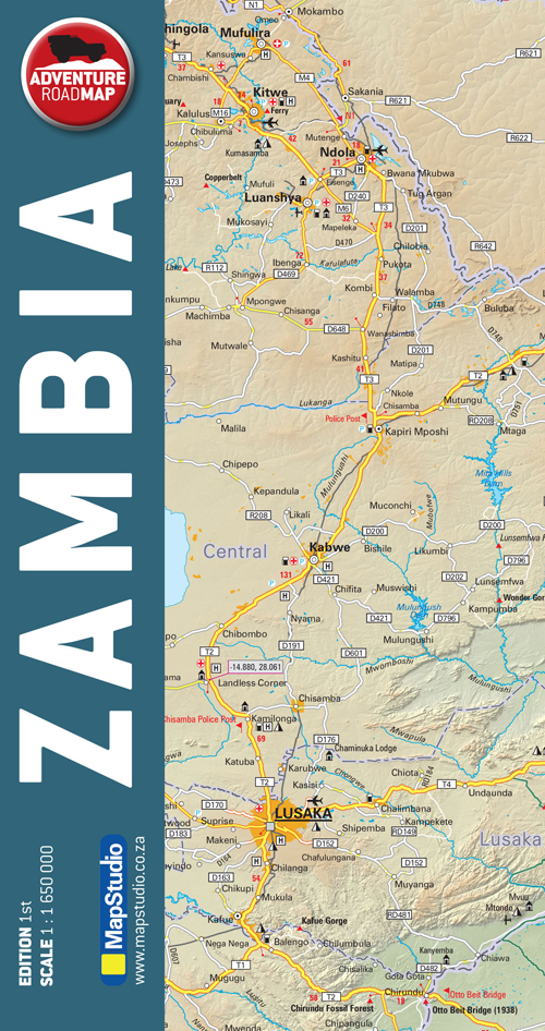 Zambia Adventure Road Map MapStudio