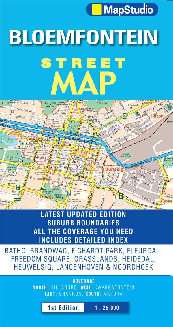 Bloemfontein Street Map providing coverage MapStudio