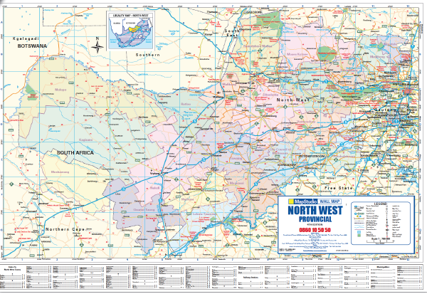 map of north west province in south africa North West Provincial Wall Map Mapstudio map of north west province in south africa