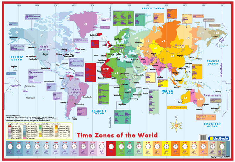 Map Of Asia Time Zones.World Time Zones Wall Map